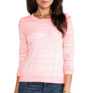 Milly Zipper Back White/Coral Long Sleeve Sweater